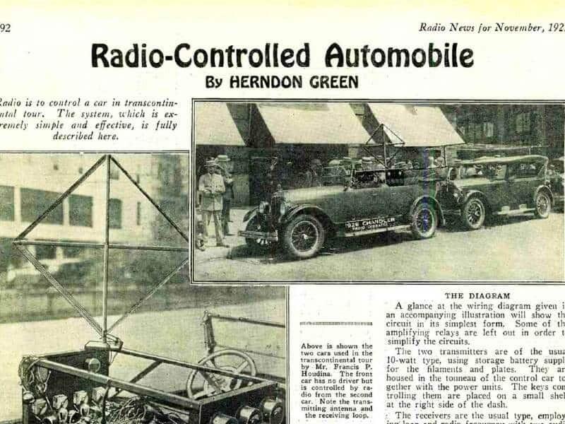 The radio-operated automobile, American Wonder, 1925.